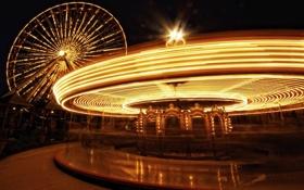 Картинка ночь, огни, карусель, чикаго, Chicago, парка, Navy Pier Park