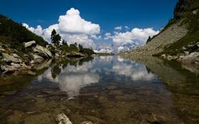 Обои люди, природа, пейзажи, горы, вода, озеро
