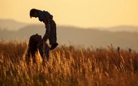 Обои поле, лето, радость, мама, ребёнок