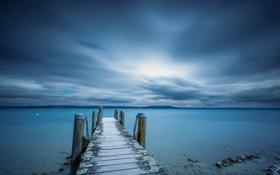 Картинка море, пейзаж, ночь, мост