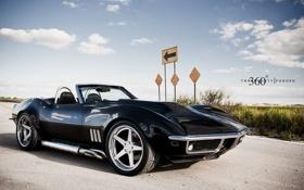 Обои небо, облака, чёрный, Corvette, Chevrolet, шевроле, black