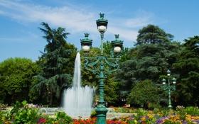 Обои деревья, цветы, Франция, фонтан, кусты, светильники, Тулуза
