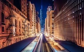 Обои ночь, огни, вечер, выдержка, поезда, США, город Чикаго
