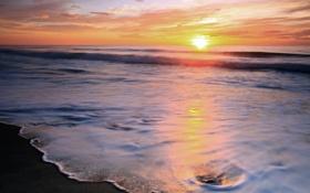 Картинка море, пляж, небо, солнце, берег, пенка