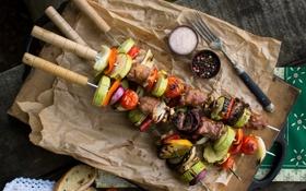 Обои мясо, перец, овощи, помидоры, соль, кабачки, шашлыки