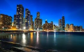 Обои ночь, город, огни, река, небоскребы, Чикаго, Иллинойс