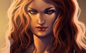 Обои девушка, лицо, арт, рыжая, локоны, Guild Wars, Rivka