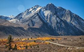 Картинка долина, осень, небо, дорога, горы, дом