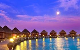 Обои море, тропики, Полинезия, бунгало