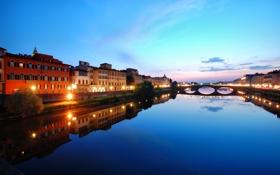 Картинка lights, Италия, Флоренция, Italy, Florence, Twilight