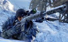 Обои зима, снег, мужчина, винтовка, Sniper: Ghost Warrior 2
