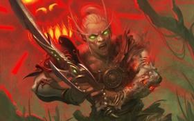 Обои карта, меч, арт, WoW, World of Warcraft, парень, Возмездие