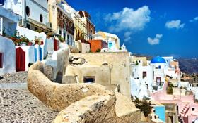 Обои природа, город, камни, дома, брусчатка, Санторини, Греция