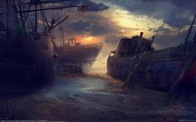 Обои птицы, тучи, корабли, остов, арт, руины, хижина