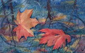 Обои осень, листья, рисунок, арт