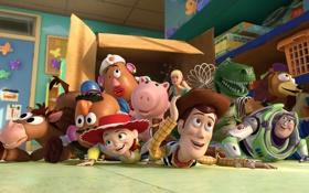 Обои комната, коробка, Pixar, Toy Story 3, История игрушек:Большой побег