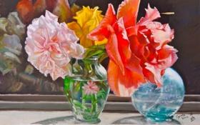 Картинка солнце, цветы, розы, букет, окно, арт, ваза