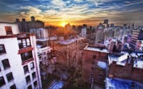 Обои закат, нью-йорк, sunset, new york, nyc, West Village
