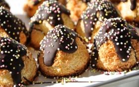 Обои макро, шоколад, печенье, пирожное