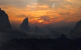 Картинка небо, закат, горы, люди, планеты, арт