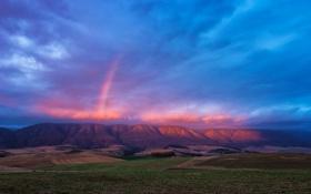 Обои долина, небо, природа, горы, тучи, радуга