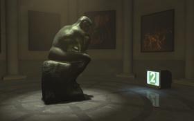 Обои грусть, одиночество, телевизор, Скульптура, музей