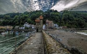 Картинка камни, лодки, Lynmouth, побережье, Англия, деревья, дома