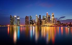 Картинка закат, город, огни, отражение, небоскребы, вечер