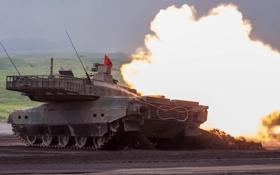 Картинка огонь, танк, боевой, японский, основной, Тип 10