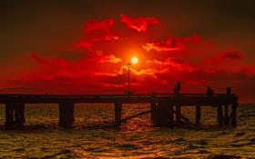 Картинка море, небо, солнце, облака, закат, силуэт, пирс