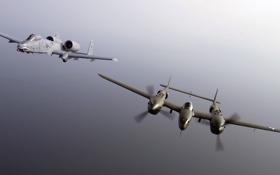 Картинка полет, истребитель, штурмовик, Lightning, A-10, P-38, Thunderbolt II