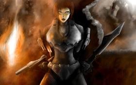 Обои взгляд, девушка, оружие, укрытие, броня, halo 4, female spartans