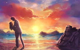 Обои любовь, закат, арт