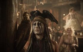 Картинка птица, орел, Johnny Depp, мужик, актер, Джонни Депп, индеец