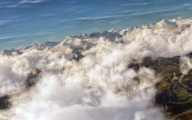 Обои облака, гряда, небо, арт, горы, вид сверху