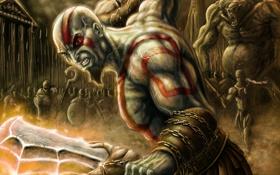 Обои оружие, войны, арт, нападение, кратос, god of war, Kratos