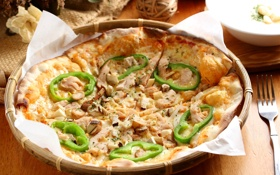 Картинка грибы, перец, пицца, начинка