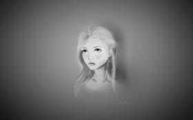 Картинка взгляд, девушка, лицо, рисунок, ч/б, арт, веснушки