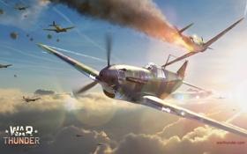 Картинка небо, солнце, дым, самолёт, plane, симулятор, MMO