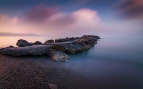 Картинка море, камни, скалы, рассвет, побережье