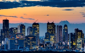 Обои небо, пейзаж, закат, огни, небоскребы, вечер, Япония