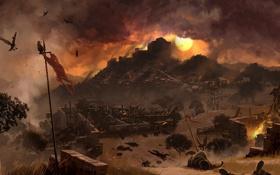 Обои солнце, закат, война, вечер, солдаты, Assassin's Creed