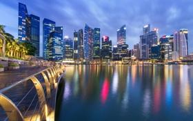 Обои здания, Сингапур, ночной город, набережная, Singapore