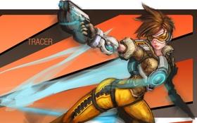 Картинка девушка, пистолет, art, tracer, overwatch