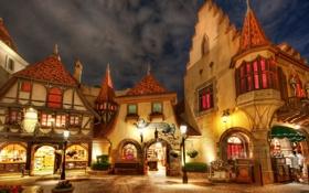 Обои площадь, фонарь, Disney World, магазины, Florida