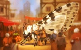 Обои фантастика, улица, бабочка, крылья, путешественник, арт