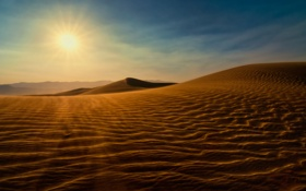 Картинка песок, пейзаж, закат, пустыня, солнце, дюны