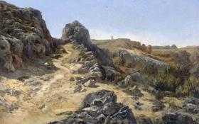 Картинка пейзаж, Карлос де Хаэс, Пейзаж близ Монастыря, скалы, тропинка, картина, камни