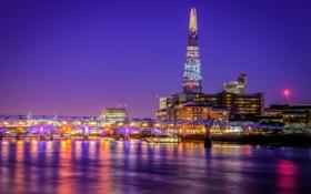 Картинка небо, ночь, огни, река, Англия, Лондон, башня