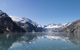 Обои Небо, Вода, Природа, Зима, Отражение, Фото, Горы